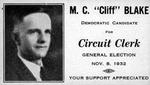 Political campaign card for Merrill C. Blake