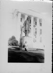 Rosanna Blake in front of Jefferson Davis statue, Richmond
