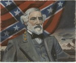 Oil painting on board of Robert E. Lee, by James Moran, 1953 Oil painting on canvas of unidentified Confederate soldier