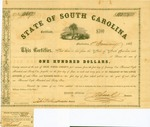 $100 bond issued by State of South Carolina, 1861. 6 percent bond No. 3607. One interest coupon on bottom.