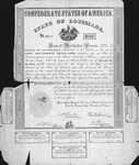 $100 bond issued by State of Louisiana, 1862. 8 percent bond No. 2973. Interest coupons on two sides and bottom.