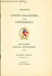 Program of the 61st annual convention of the United Daughters of the Confederacy, Nov. 7 thru 11, 1954, Roanoke, Va.
