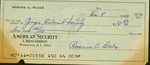Personal check of Rosanna Blake payable to Georgia Hist. Society for $10.50 dated 5 Dec. 1964.