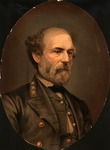 Chromolithographic oval print of Robert E. Lee, from a Matthew Brady photo.