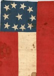 Small Confederate flag, modified 1st National pattern, ca. 1861-62. Sewn cotton.