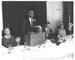 Dr. Harry Goff Straley speaking at Woman's Club of Huntington, 1958 by H. M. Cazad