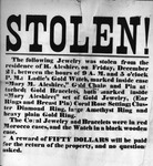 Broadside announcing $50 reward for return of jewelry stolen from R. Aleshire and Mary Aleshire on Dec. 21. (Enslow papers)