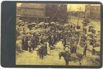 Group setting a cornerstone, Huntington, 1890