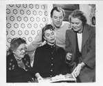 Actress Joanne Dru, center, Catherine Enslow on right, 1953