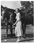 Mrs. Alfred Edgar of Huntington with 2 polo horses, Greenbrier Hotel, 1934