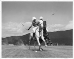 Polo match, W.D. Fergus (left) and Gould Shaw, on the Greenbrier field, 1934