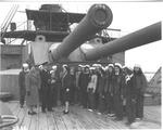 Capt. Decker & ladies of First Mariner Troop, on deck of Mikassa, 1947