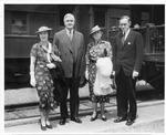 Harry Hopkins (rt), Jesse Jones & wives, White Sulphur springs station, ca. 1940