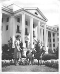 Spring gardens at the Greenbrier Hotel, nort portico, 1940