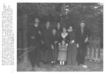 Dedication of Wee House in the Woods, jean Thomas standing behind little girl