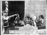 Launching of U.S.S. Huntington, 1945, christening by Mrs. Milton L. Jarret