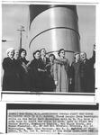Huntington group at ship Queen Elizabeth, New York Harbor, 1957