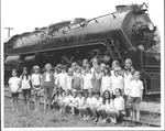 W.Va. girls tour in front of Greenbrier Railroad Co. engine 2102