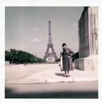 Catherine Bliss Enslow in front of Eiffel Tower, Paris, 1957