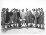 Catherine Bliss Enslow & tour group aboard the Queen Mary, 1960