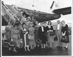 Catherine Bliss Enslow & tour group on Air France tour, 1957