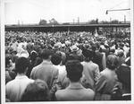Pres. Harry Truman speaking at Huntington train station