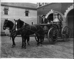 Horse-drawn fire engine in front of Huntington Central Fire Station, ca. 1903
