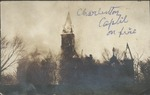 State Capitol building burning, Jan. 3, 1921, Charleston, W.Va.
