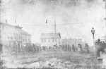 Scene on Third Avenue of tight-rope walker above street, 1873