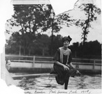 Unidentified woman at Camden Park swimming pool, 1910