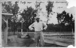 Unidentified man at Camden Park swimming pool, 1910