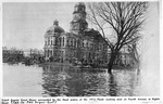 Cabell County Court House surrounded by the flood waters of the 1913 Flood ,looking west on fourth Avenue at Eighth Street