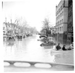 Cars & boats on 3rd Ave., Emmons Apartment Bldg,, Huntington, Wva,1937 Flood