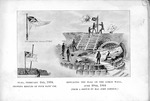 Fort Sumter, February 2nd, 1864, Flag showing result of four days' use, June 20th, 1864, replacing the flag on the gorge wall, ( from a sketch by Maj. John Johnson)
