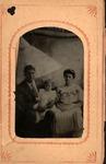 Tintype of man woman and child, G.G. Bunffington