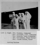 American Red Cross W.W. I Canteen Office Force or Officers, Mrs. Dan A. Mossman-Commander, Mrs. C.F. Wilcoxen- Asst. Commander, Mrs. H.G. Heinish- Secy.-Treasurer, Mrs. A.A. Millineaux- House Mother, Mrs. Claude Hoback-Nurse