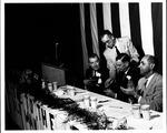 Cam Henderson, Jennings Randolph, Stewart Smith at dinner, 1954
