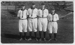 4 members of the Salem College baseball team, 1917, Cam second from left
