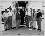 Cam Henderson, Jennings Randolph & others at Tri-State Airport, 1954