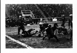 Jackie Hunt and Harley Kuhl make a touchdown play for Marshall, ca. 1940's