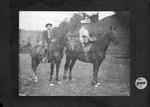 Cam Henderson and sister Nora on horseback, ca. 1900