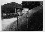 Joetown, W.Va. highway sign, 1980