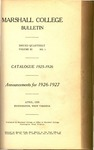 1925-1926 Catalogue of Marshall College