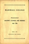 1939-1940 Graduate Catalogue by Marshall University