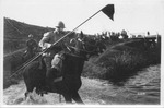 WWI view:Cavalry from Italy through the pass to Monticerro (Monticello?), April 1918