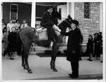 Rev. Alva T. Stewart greeting Rev. Sidney Dillenger on horseback
