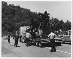 Recovering the wreckage of the David Brinkley bridge, Wayne, WV, Sept. 1970