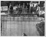 Crowd at the fallen David Brinkley bridge, Wayne, WV, Sept. 1970