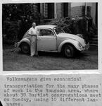 Rev. Erville Sowards and his VW beetle in Rangoon, Burma, 1961