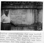 Rev. Erville Sowards laying cornerstone for building in Burma, 1960-61